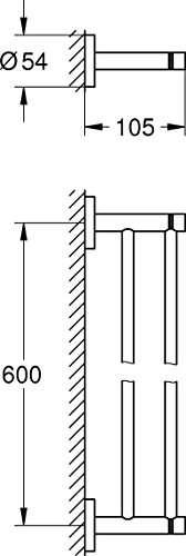 Rysunek techniczny wieszaka Grohe 40802001-image_Grohe_40802001_3