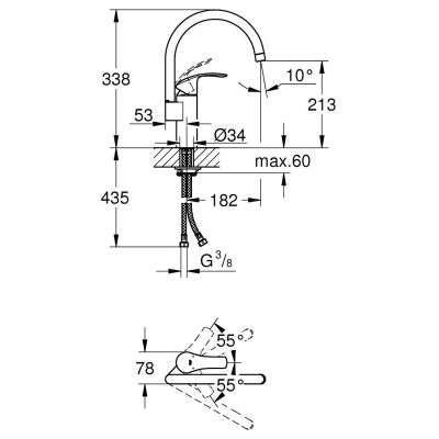 Rysunek techniczny baterii kuchennej Eurosmart 33202DC2-image_Grohe_33202DC2_3