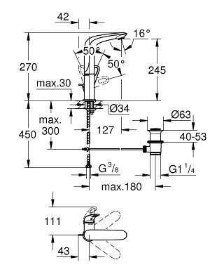 Rysunek techniczny baterii umywalkowej Grohe Eurostyle 23569003-image_Grohe_23569003_3