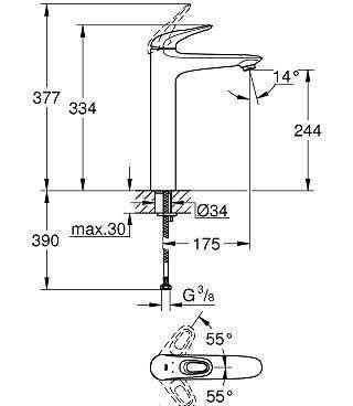 Rysunek techniczny baterii umywalkowej Grohe 23570003-image_Grohe_23570003_3