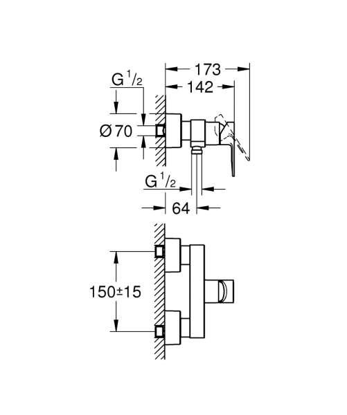 Wymiary techniczne baterii prysznicowej grohe 33865001-image_Grohe_33865001_3