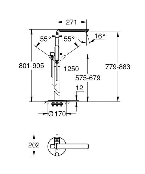 Dane techniczne kolumny wannowej Lineare 23792DC1