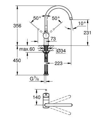 Rysunek techniczny baterii kuchennej Grohe Minta 32917DA0.-image_Grohe_32917DA0_2