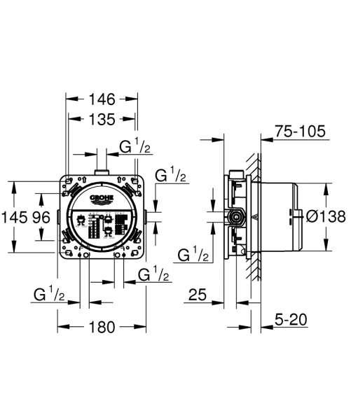 Wymiary techniczne elementu podtynkowego Grohe 35600000 - smartbox.
