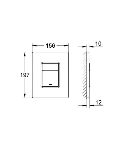 Rysunek techniczny przycisku uruchamiającego Grohe Skate Cosmopolitan  38732SD0-image_Grohe_38732SD0_4