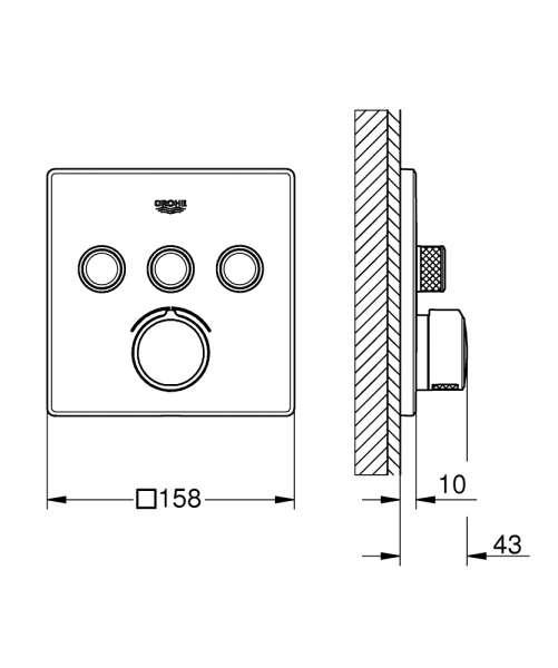 Wymiary techniczne podtynkowej baterii do sterowania trzema odbiornikami Grohe 29149000.