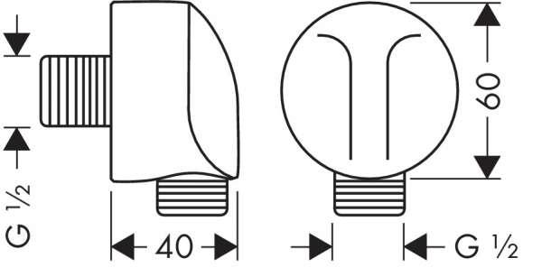 Rysunek techniczny przyłącza węża Hansgrohe 27454000-image_Hansgrohe_27454000_3