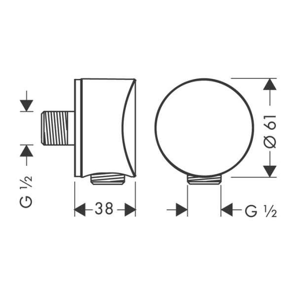 Rysunek techniczny przyłącza kątowego Hansgrohe 27453000-image_Hansgrohe_27453000_3