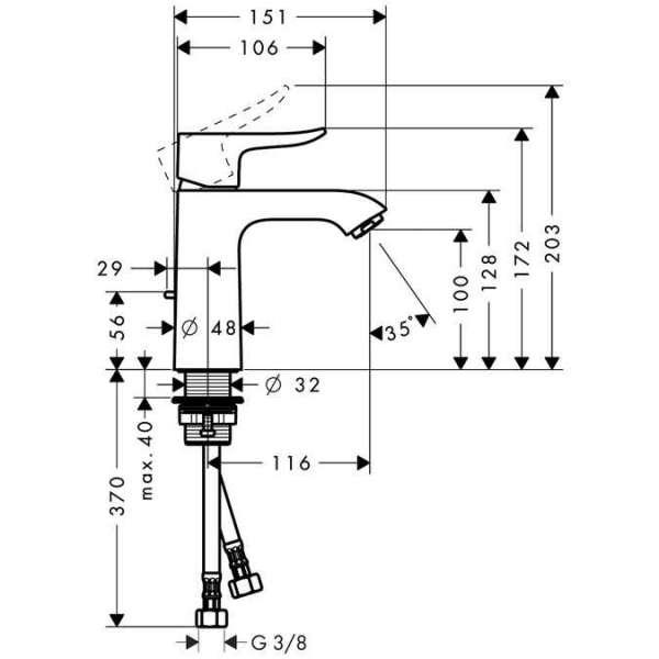 Wymiary techniczne baterii umywalkowej Hansgrohe Metris E2 31080000 -image_Hansgrohe_31080000_7