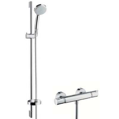 Zestaw baterii prysznicowej z termostatem oraz zestawem prysznicowym na drążku Hansgrohe 27033000