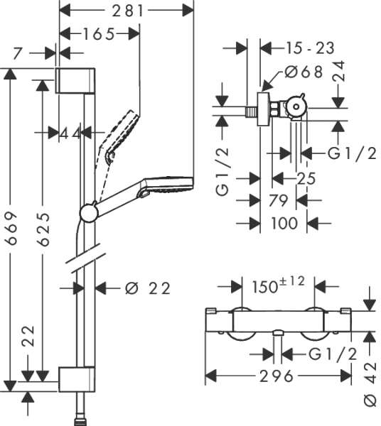 Wymiary techniczne zestawu Crometta Vario Combi 27812400-image_Hansgrohe_27812400_4