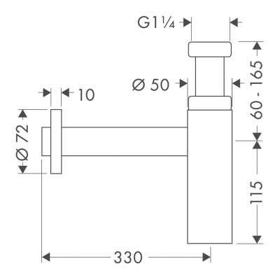 Rysunek techniczny syfonu Flowstar S 52105-image_Hansgrohe_52105000_3