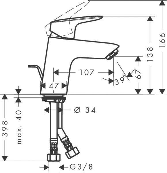 wymiary techniczne baterii umywalkowej Logis 71073000-image_Hansgrohe_71073000_3