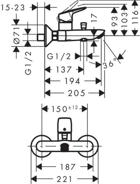 Wymiary techniczne baterii wannowej Logis 71401000-image_Hansgrohe_71401000_3