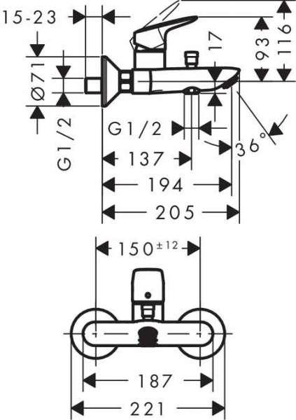 Wymiary techniczne baterii wannowej Hansgrohe Logis 71400000-image_Hansgrohe_71400000_5