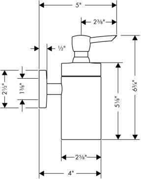 Rysunek techniczny dozownika na mydło w płynie Hansgrohe Logis 40514-image_Hansgrohe_40514000_3