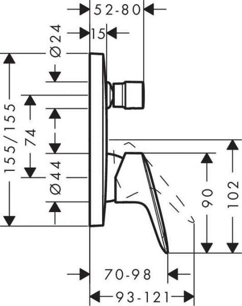 Wymiary techniczne podtynkowej baterii wannowej Hansgrohe Logis 71405000-image_Hansgrohe_71405000_5