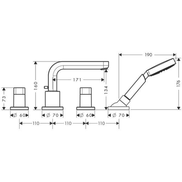 Wymiary techniczne baterii wanoowej Metris S Hansgrohe 31446000-image_Hansgrohe_31446000_4