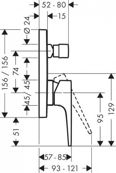 Wymiary techniczne baterii Metropol 32545670.-image_Hansgrohe_32545670_2