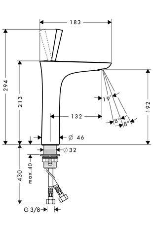 Wymiary techniczne baterii umywalkowej Hansgrohe PuraVida 15081400-image_Hansgrohe_15081400_3