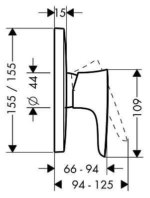 Wymiary techniczne baterii prysznicowej Hansgrohe PuraVida 15665400-image_Hansgrohe_15665400_3