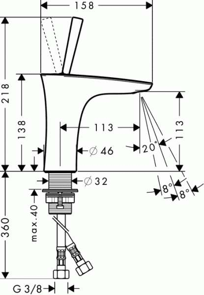 Wymiary techniczne baterii umywalkowej Hansgrohe PuraVida 15070400-image_Hansgrohe_15070400_3