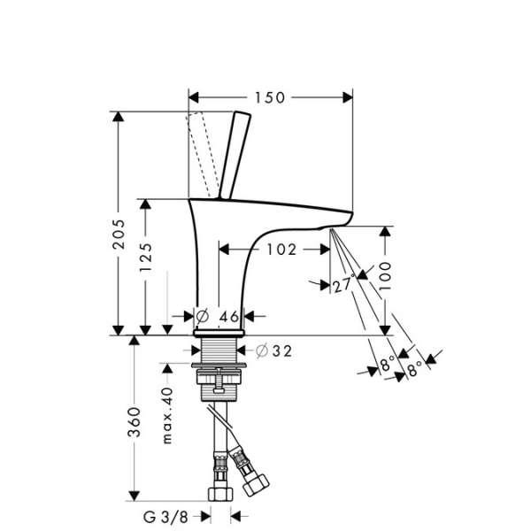 Wymiary techniczne baterii umywalkowej Hansgrohe PuraVida 15075400-image_Hansgrohe_15075400_4