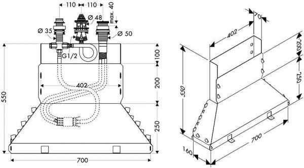 Wymiary techniczne elemntu podstawowego Hansgrohe 13437180-image_Hansgrohe_13437180_4