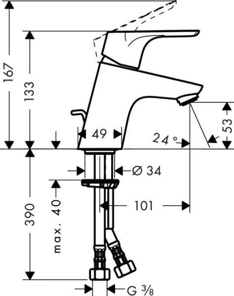 Wymiary techniczne baterii umywalkowej Hansgrohe Focus E2 31730000-image_Hansgrohe_31730000_3