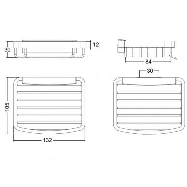 Wymiary techniczne metalowej półki Kludi A-Xes 4898605-image_Kludi_4898605_3