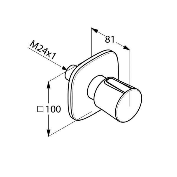 Rysunek techniczny przełącznika 3 kierunkowego Kludi Ambienta 538460575-image_Kludi_538460575_3