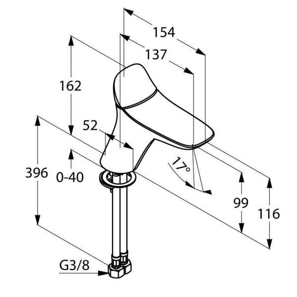 Wymiary techniaczne baterii umywalkowej Kludi Ambienta 530260575-image_Kludi_530260575_3