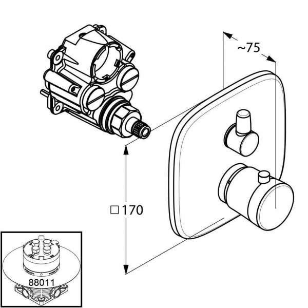 Wymiary podtynkowej termostatycznej baterii wanoowej Kludi Ambienta 538300575-image_Kludi_538300575_3
