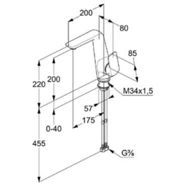 Wymiary techniczne baterii umywalkowej kludi ameo bez korka automatycznego-image_Kludi_410240575_5