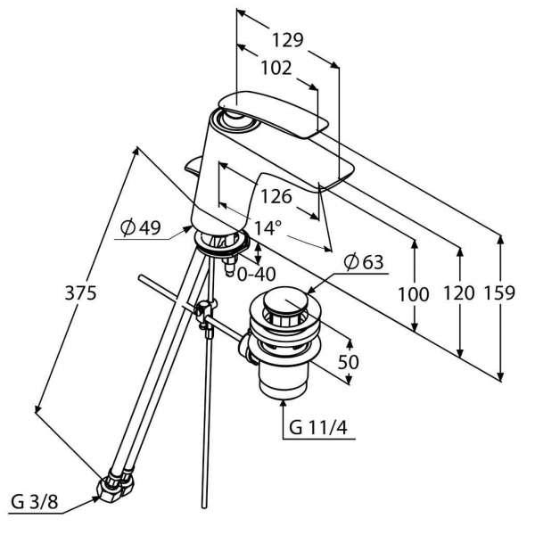 Wymiary techniczne baterii umywalkowej Kludi Balance 520230575