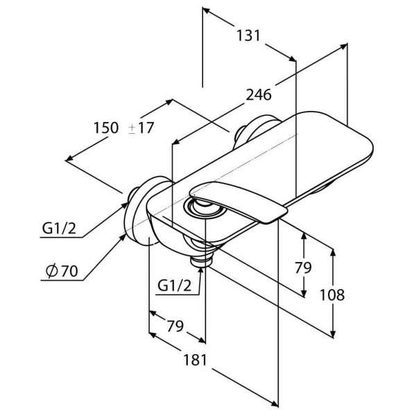 Wymiary techniczne baterii prysznicowej Kludi Balance 527100575-image_Kludi_527100575_3