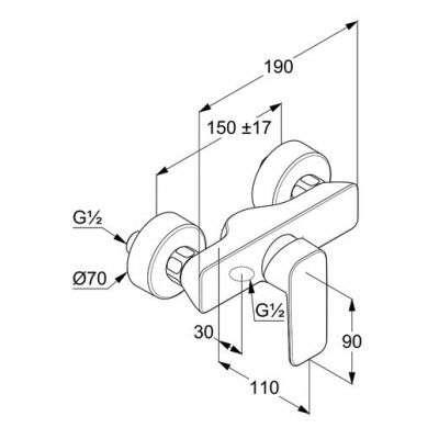 Wymiary techniczne baterii do prysznica Pure Style 40 841 05 75-image_Kludi_408410575_3