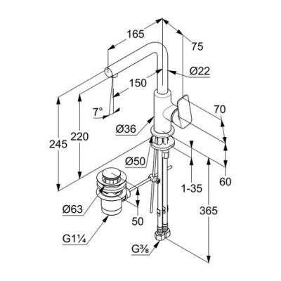 Wymiary techniczne armatury Kludi 40 025 05 75-image_Kludi_400250575_3