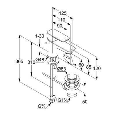 Wymiary techniczne baterii Kludi 403850575-image_Kludi_403850575_3