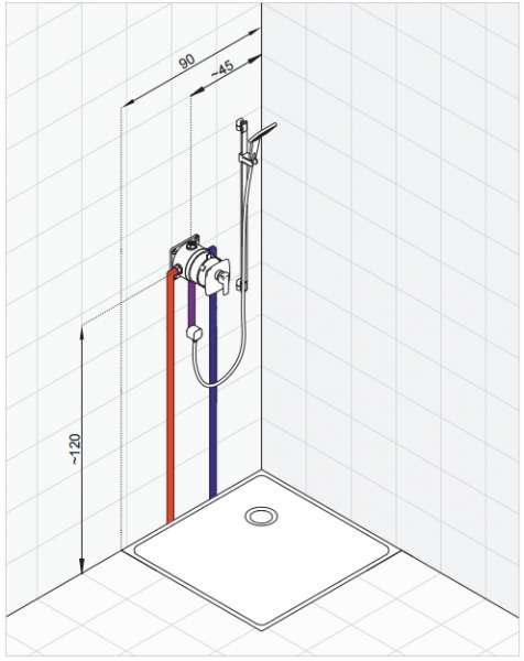 Klasyczne rozwiązanie wyposażenia kabiny bazujące na jednym źródle wody. Podtynkowa bateria natryskowa połączona z zestawem natryskowym. Woda doprowadzona jest do zestawu przyłączem kątowym-image_Kludi_506550565_5