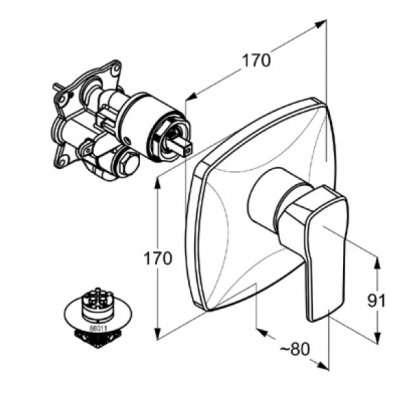 Wymiary techniczne baterii Kludi Q-Beo 506550565-image_Kludi_506550565_4