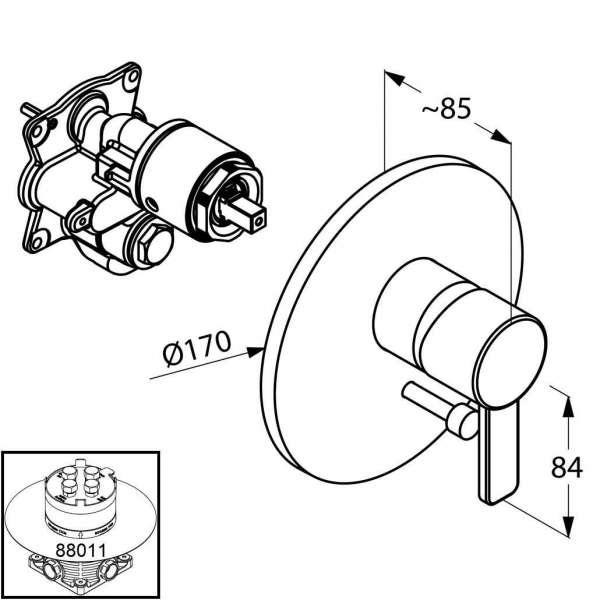 Rysunek techniczny podtynkowej baterii wannowej Kludi Zenta 386508675-image_Kludi_386508675_3