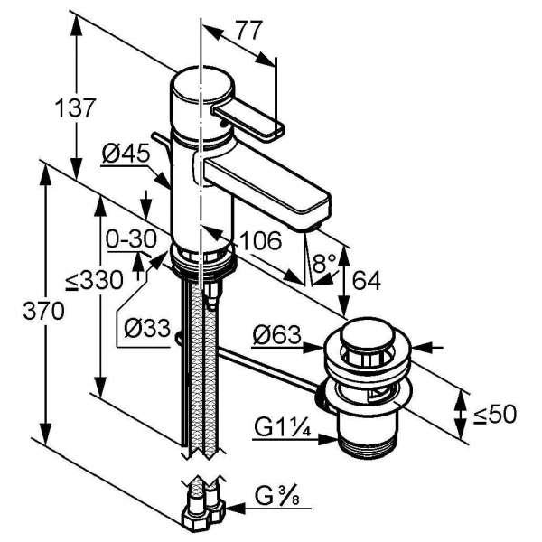 Wymiary techniczne baterii umywalkowej Kludi Zenta 382509175-image_Kludi_382509175_4