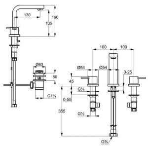 Wymiary techniczne baterii umywalkowej 3-otworowej 383930575-image_Kludi_383930575_3