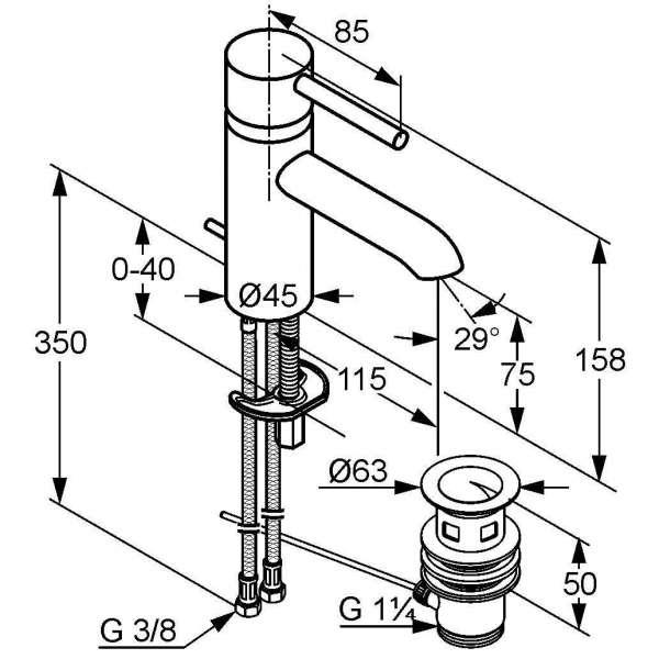 Wymiary techniczne baterii umywalkowej Kludi Bozz 382910576-image_Kludi_382910576_3