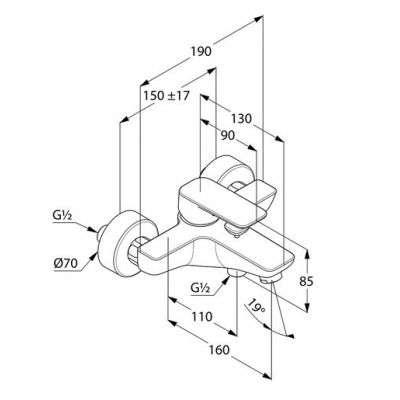 Wymiary techniczne baterii wannowej 40 681 05 75-image_Kludi_406810575_3