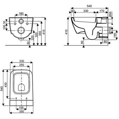 rysunek techniczny miski wiszącej Life M23100-image_Koło_M23100000_3