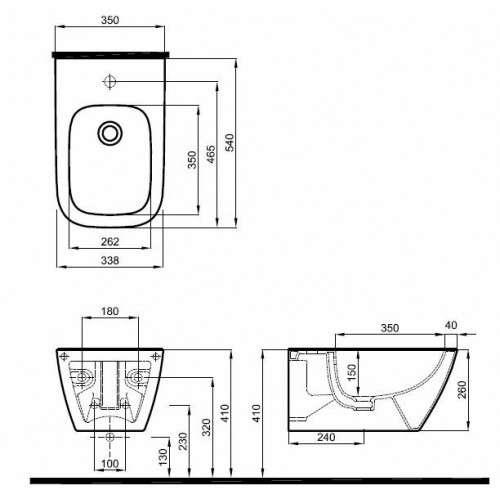 rysunek techniczny bidetu wiszącego Modo L35100 900-image_Koło_L35100900_3