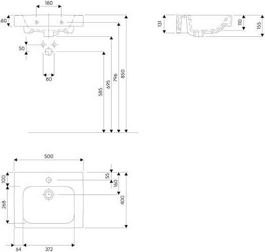 Wymiary techniczne umywalki Koło Modo 50x40 L31950 000.-image_Koło_L31950000_3