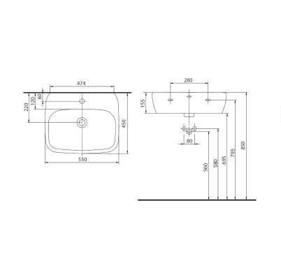 Wymiary techniczne umywalki Style L21955 -image_Koło_L21955000_3